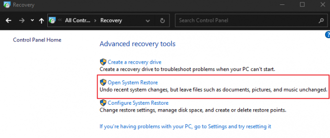 Open the System Restore Option and Follow On-Screen Instructions.