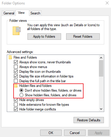 Checkmark the Show Hidden Files, Folders, and Drives Option.