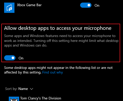 Allow Desktop Apps to access Microphone