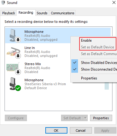 Enabling Microphone and Setting as Default Device on Windows 10