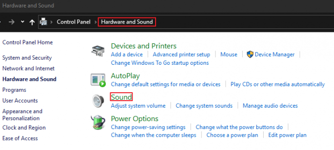 Windows 10 Control Panel - Hardware and Sound Options - Sound Options for Accessing Microphone.