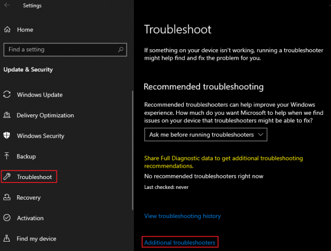 How to find Additional Troubleshooters for Audio Testing.