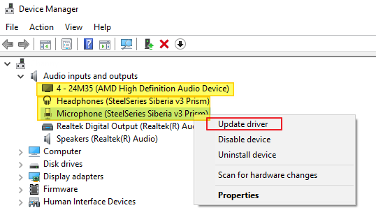 Update Microphone Driver in Device Manager