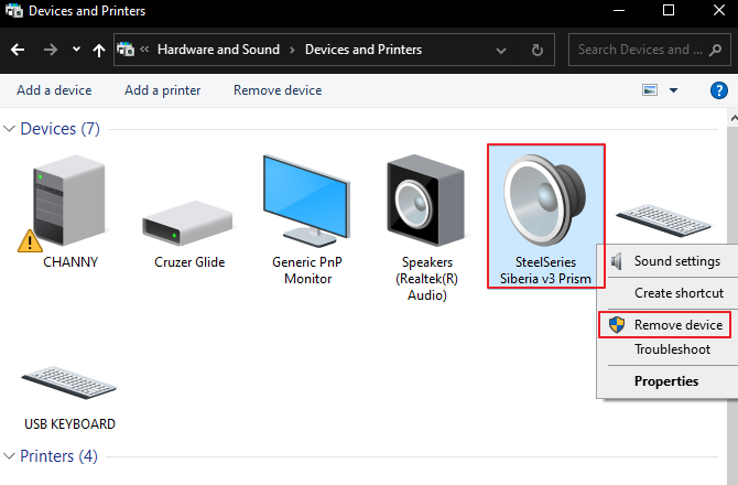 How to Remove a Device in Devices and Printers.
