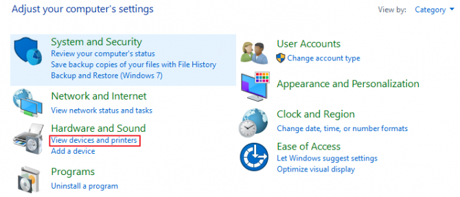 Where to find Devices & Printers on Windows 10; Control Panel - View Devices and Printers
