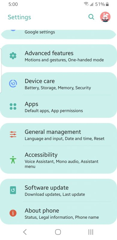 Apps in Android Settings