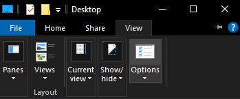 Click View - Then Options.