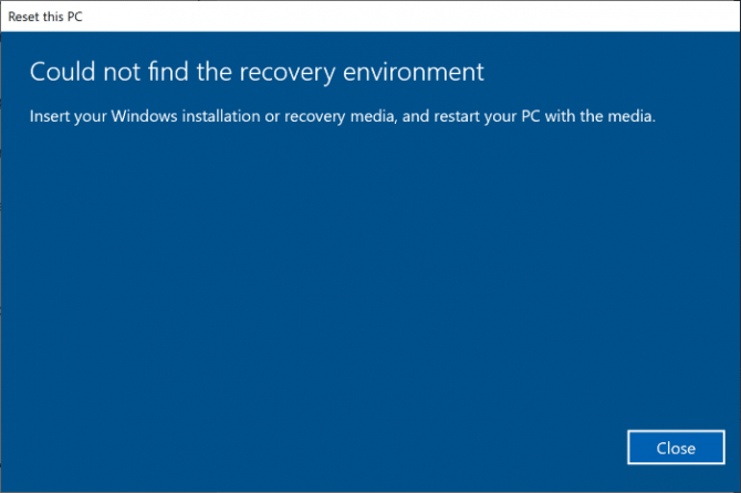 Could Not Find the Recovery Environment Error in Windows 10