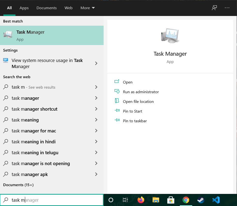 Search for Task Manager
