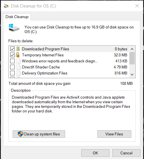 Disk Cleanup for OS