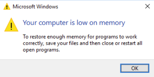 Your computer is low on memory error message