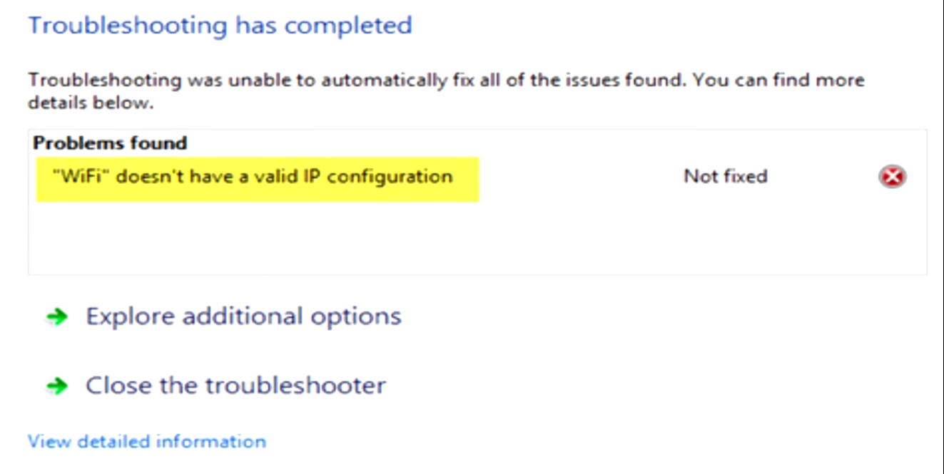 WiFi doesn't have a valid IP configuration error message