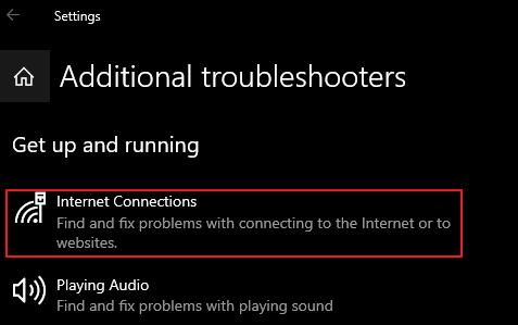 Additional Troubleshooters - Internet Connection