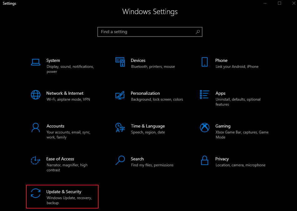 Settings - Update & Security Option