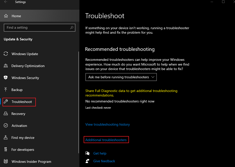 Troubleshoot - Additional Troubleshooters