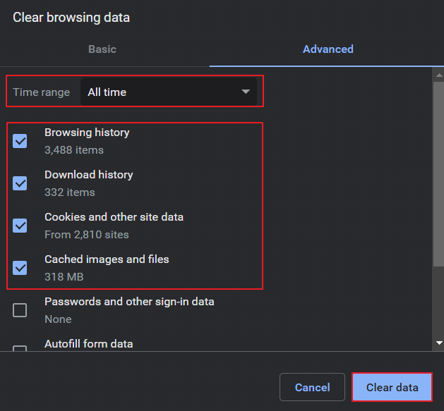 Clear all time browsing data