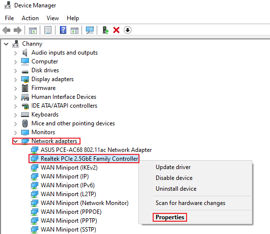 Device Manager - Network Adapter - Properties