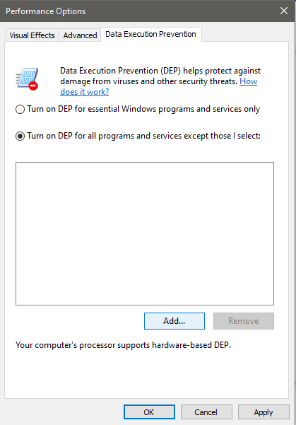 Turn on DEP for all programs and services except those I select