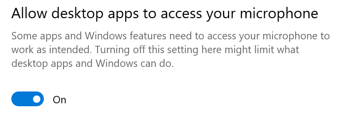 allow desktop apps to access your microphone