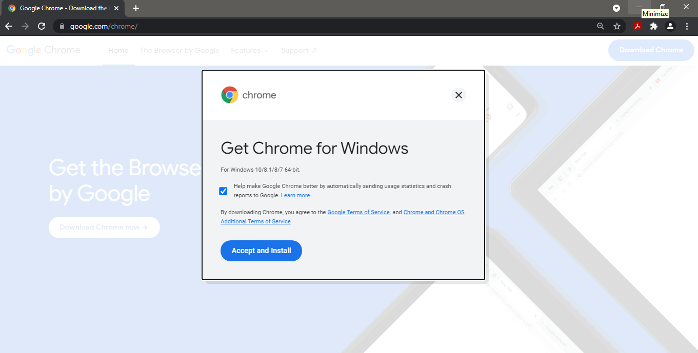 click on download chrome