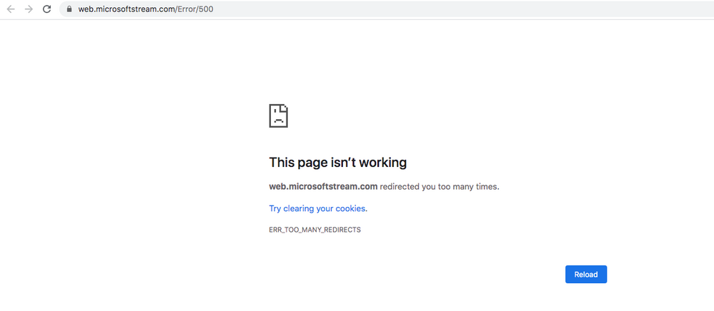 err_too_many_redirects message in Google Chrome