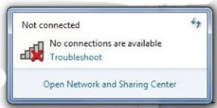 Laptop not connecting to WiFi error message on Windows.