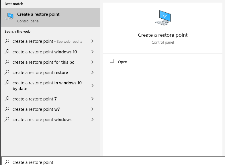 search for create a restore point