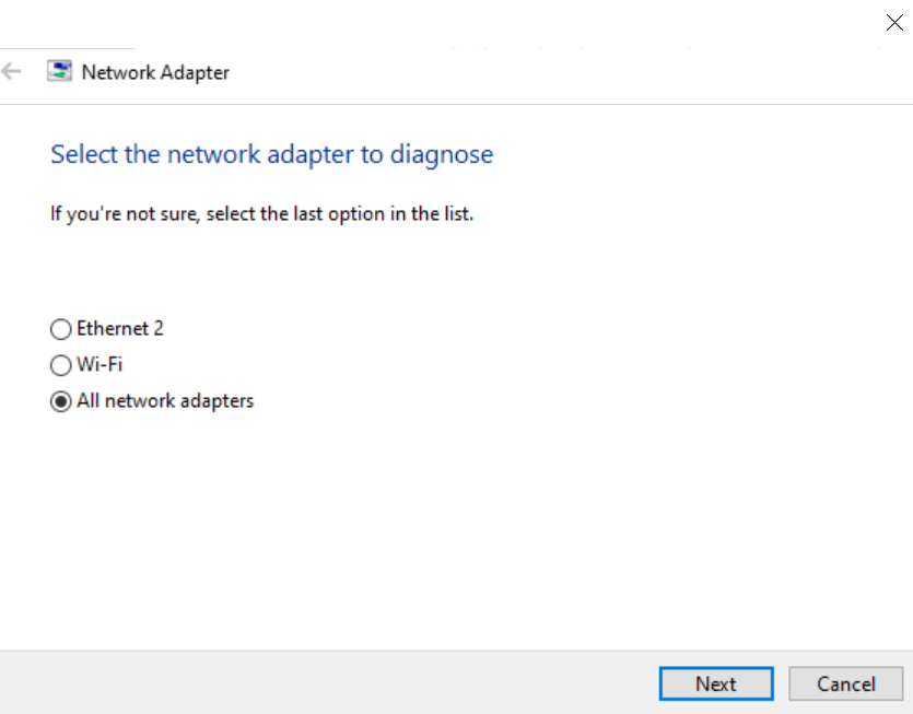 select network adapter